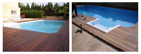 acabados de madera en piscinas